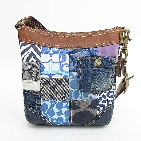 It Is Net Pro Coach Patchwork Shoulder Bag 10812 Blue Canvas X Leather Brand Used