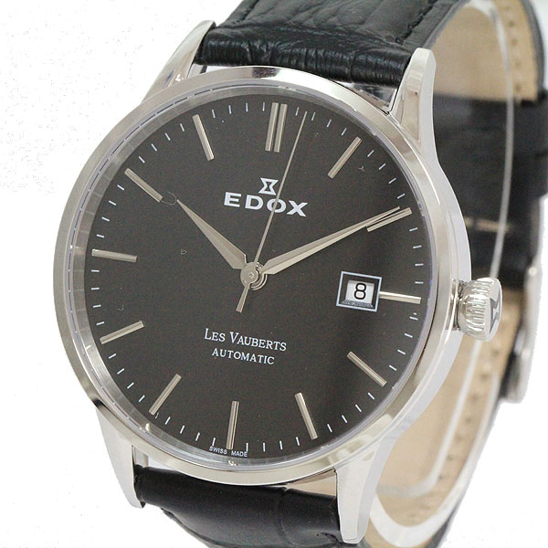 EDOX(エドックス) レ・ヴォーベル LES VAUBERTS 80081/1181552 ステンレススチール(SS)/レザー オートマティック(自動巻き) メンズ 黒 ブラック 【中古】 腕時計 netshop