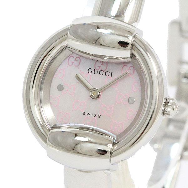 GUCCI(グッチ) バングルウォッチ 1400L ピンクシェル SS クォーツ レディース 【中古】 腕時計 netshop