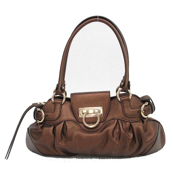 7f684a660482 It is netshop Salvatore Ferragamo (Salvatore Ferragamo) Marissa semi-shoulder  handbag bronze leather  brand bag   used