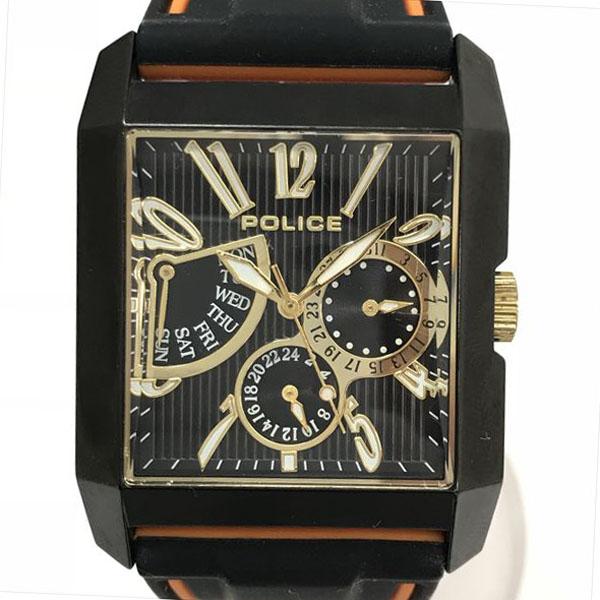 ポリス 13789M 黒×ゴールド文字盤 クォーツ メンズ 黒×オレンジ 【中古】 腕時計 netshop