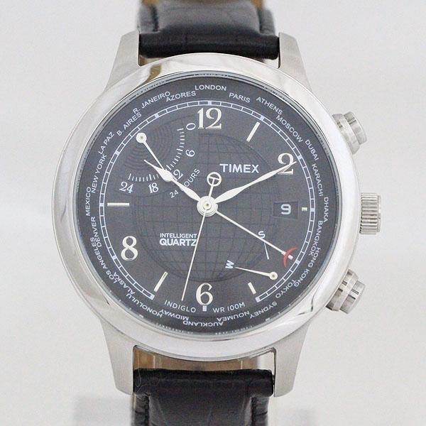 TIMEX(タイメックス) インテリジェント T2N609 ブラック文字盤 ステンレススチール(SS)×レザー クォーツ メンズ 黒 ブラック 【中古】 腕時計 netshop【2019610】