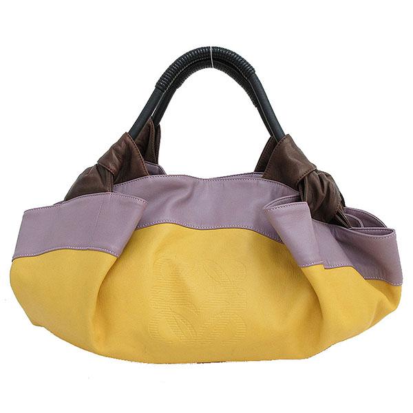 LOEWE(ロエベ) ナッパアイレ ハンドバッグ マルチカラー 黄色 イエロー×紫 パープル×茶 ブラウン レザー【ブランドバッグ】 【中古】 netshop【2019710】