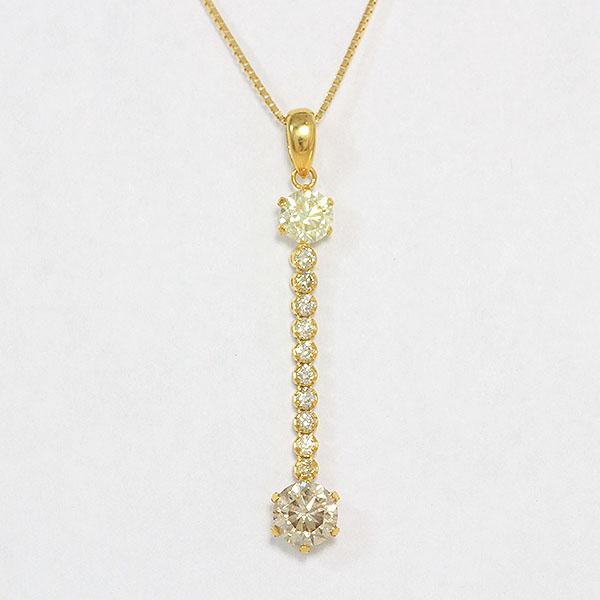 CROSSFOR(クロスフォー) 新品!ネックレス  ダイヤモンド 0.760ct/0.405ct/計0.20ct  18金イエローゴールド(K18YG) 【新品】 ジュエリー netshop