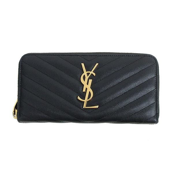Yves Saint Laurent(イヴサンローラン) ラウンドファスナー長財布 358094 黒 ブラック×ゴールド金具 レザー 【ブランド財布】 【中古】 netshop