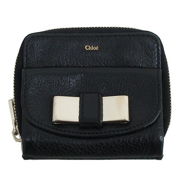 chloe クロエ リリー 新品 おしゃれ 送料無料 コンパクトジッップ財布 二つ折り 黒 ブラック 中古 ブランド財布 レザー netshop