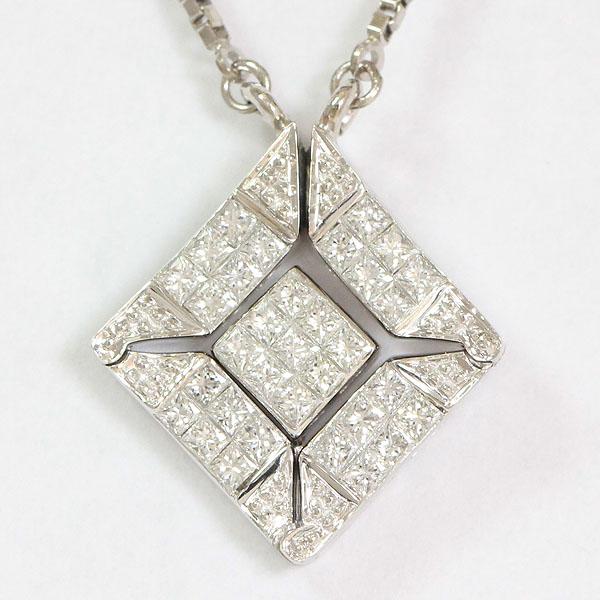 2WAY  ダイヤモンド 計0.50ct ネックレス 18金ホワイトゴールド(K18WG)  【中古】 ジュエリー 【新品仕上げ済み】 netshop