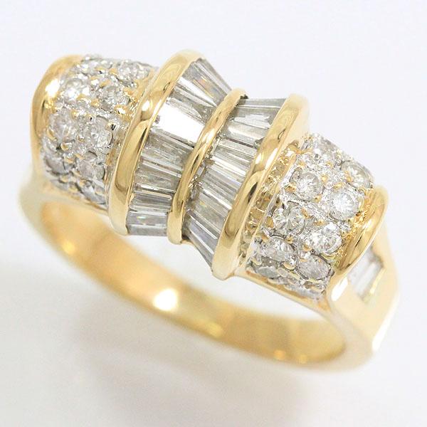 ダイヤモンド 計1.22ct 計0.55ct リング 12号 18金イエローゴールド(K18YG)  【中古】ジュエリー 【新品仕上げ済み】 netshop