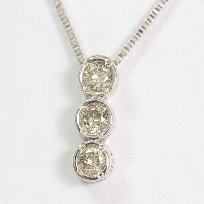 ダイヤモンド 計0.10ct ネックレス 14金ホワイトゴールド(K14WG)  【中古】 ジュエリー 【新品仕上げ済み】 netshop【20191219】