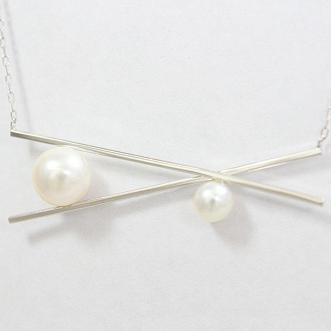真珠 パール(大) 直径約7.2mm ネックレス 18金ホワイトゴールド(K18WG)  【中古】 ジュエリー 【新品仕上げ済み】 netshop
