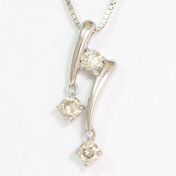 ダイヤモンド 計0.30ct ネックレス 18金ホワイトゴールド(K18WG)  【中古】 ジュエリー 【新品仕上げ済み】 netshop【202025】