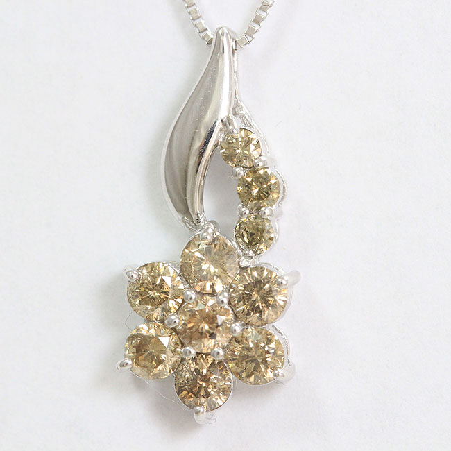 ブラウンダイヤモンド 計1.0ct ネックレス 18金ホワイトゴールド(K18WG)  【中古】 ジュエリー 【新品仕上げ済み】 netshop
