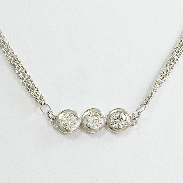 ダイヤモンド 計0.27ct ネックレス 18金ホワイトゴールド(K18WG)  【中古】 ジュエリー 【新品仕上げ済み】 netshop