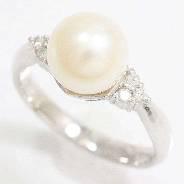 真珠 パール 約 8.5mm/ダイヤモンド 計0.10ct リング 12号 プラチナ(Pt900)  【中古】ジュエリー 【新品仕上げ済み】 netshop【2020214】