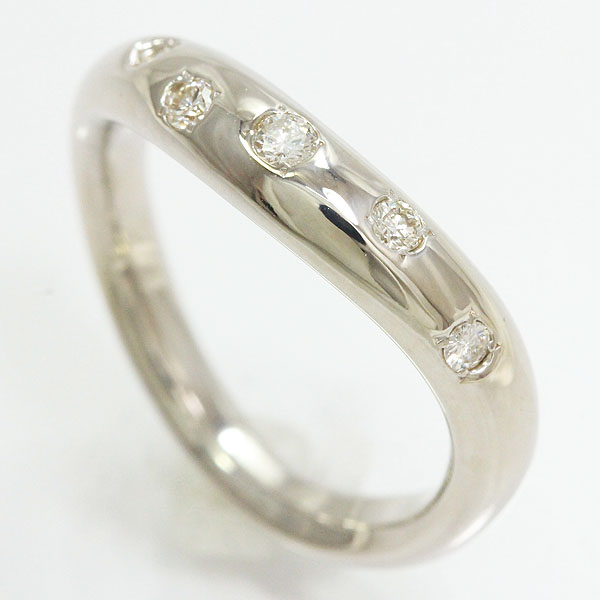 ダイヤモンド 計0.12ct リング 10号 18金ホワイトゴールド(K18WG)  【中古】ジュエリー 【新品仕上げ済み】 netshop【2020225】