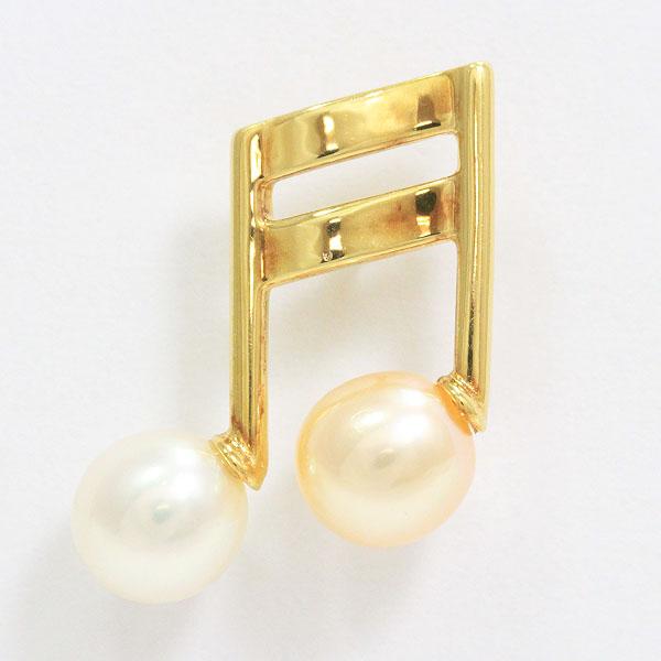 TASAKI(タサキ) ブローチ 真珠 音符 パール 約 5.7mm  18金イエローゴールド(K18YG) ゴールドメッキ  【中古】ブランド ジュエリー 【新品仕上げ済み】 netshop【2020225】
