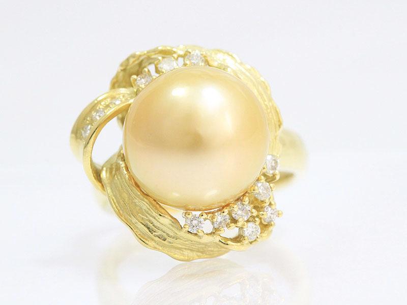 フラワー 真珠 ゴールデンパール約12 5mm ダイヤモンド計0 22ct リング 11号 18金イエローゴールド K18YGジュエリー新品仕上げ済みnetshop 2020226m8OwN0vn