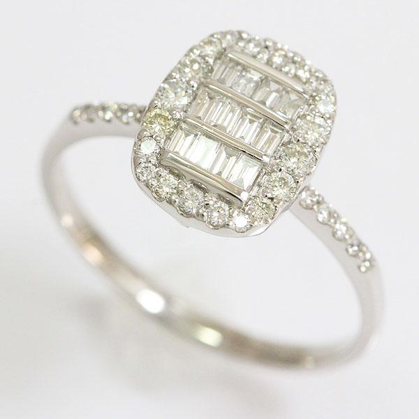 ダイヤモンド 計0.55ct リング 18.5号 18金ホワイトゴールド(K18WG)  【中古】ジュエリー 【新品仕上げ済み】 netshop