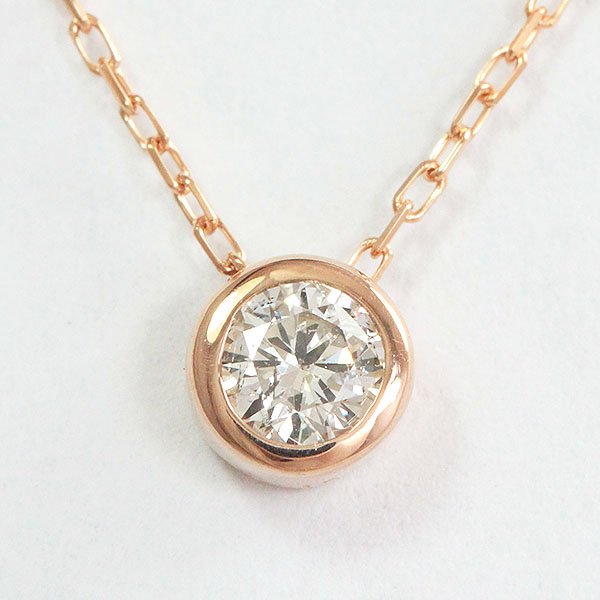 一粒石 ダイヤモンド 0.15ct ネックレス 18金ピンクゴールド(K18PG)  【中古】 ジュエリー 【新品仕上げ済み】 netshop