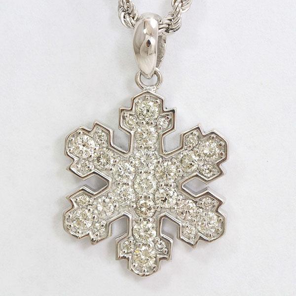 雪の結晶 ダイヤモンド 計1.05ct ネックレス 18金ホワイトゴールド(K18WG)  【中古】 ジュエリー 【新品仕上げ済み】 netshop