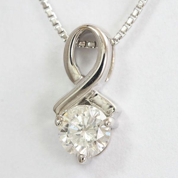 一粒石 ダイヤモンド 0.34ct ネックレス 18金ホワイトゴールド(K18WG)  【中古】 ジュエリー 【新品仕上げ済み】 netshop