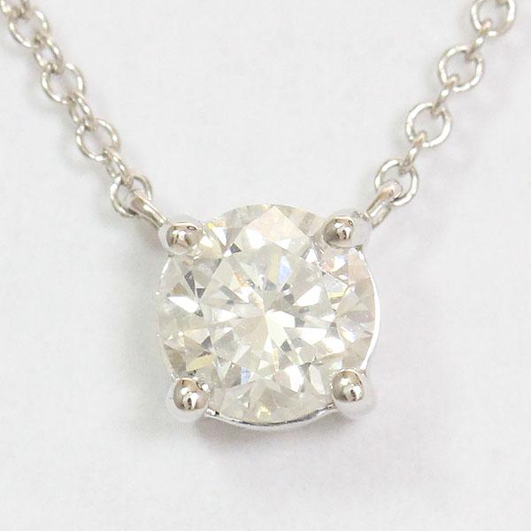 一粒石 ダイヤモンド ネックレス 18金ホワイトゴールド(K18WG)  【中古】 ジュエリー 【新品仕上げ済み】 netshop
