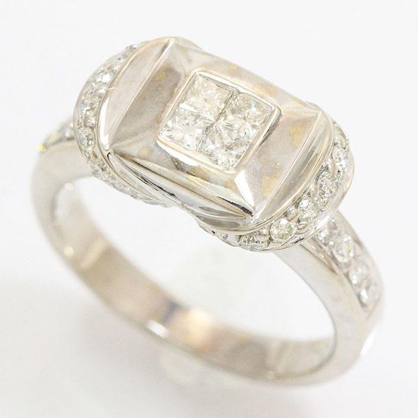 ダイヤモンド 計0.70ct リング 10号 18金ホワイトゴールド(K18WG)  【中古】ジュエリー 【新品仕上げ済み】 netshop