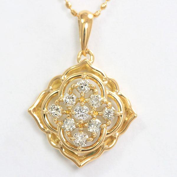 ネックレス フラワー ダイヤモンド 18金イエローゴールド(K18YG)  【中古】 ジュエリー 【新品仕上げ済み】netshop