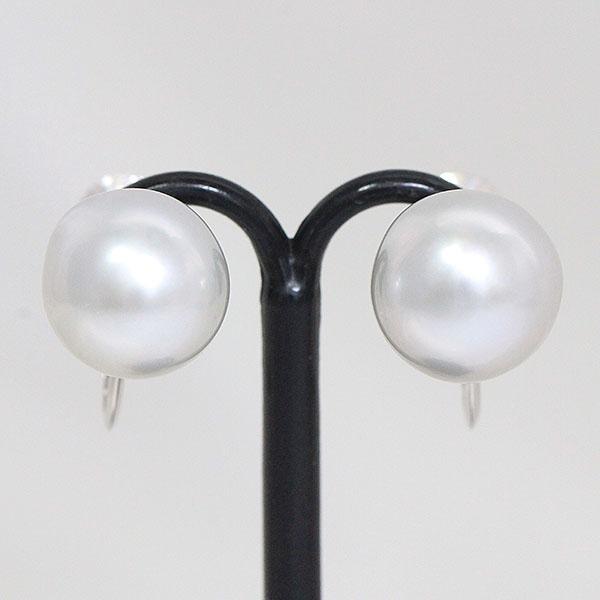 真珠 パール 直径 約10.5mm イヤリング 14金ホワイトゴールド(K14WG)  【中古】 ジュエリー 【新品仕上げ済み】 netshop
