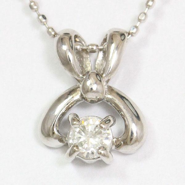 ダイヤモンド 0.16ct ネックレス 18金ホワイトゴールド(K18WG)/10金ホワイトゴールド(K10WG)  【中古】 ジュエリー 【新品仕上げ済み】 netshop