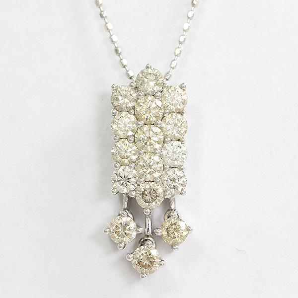 ネックレス ダイヤモンド 計1.12ct 18金ホワイトゴールド(K18WG)  【中古】 ジュエリー 【新品仕上げ済み】netshop