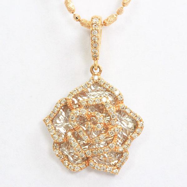 フラワー ダイヤモンド 計0.44ct ネックレス 18金ホワイトゴールド(K18WG)/18金ピンクゴールド(K18PG)  【中古】 ジュエリー 【新品仕上げ済み】 netshop