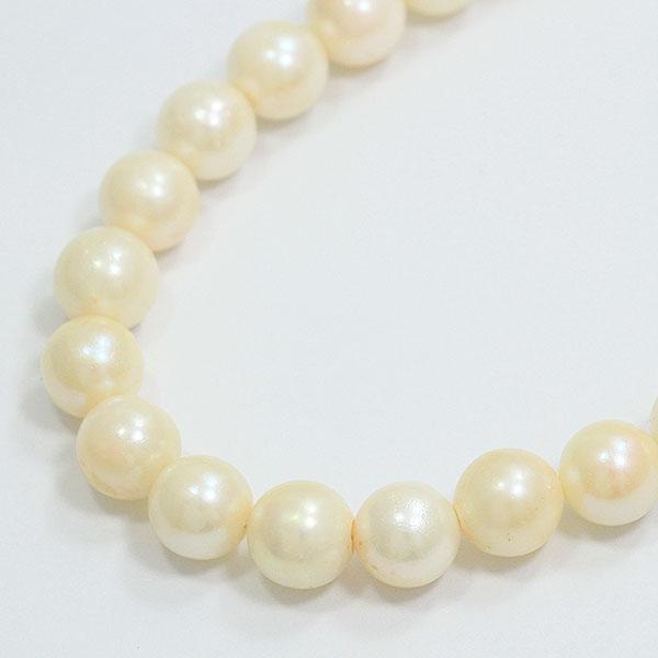 連ネックレス 真珠 パール 直径約8.0-8.5mm ネックレス シルバーメッキ  【中古】 ジュエリー 【新品仕上げ済み】 netshop