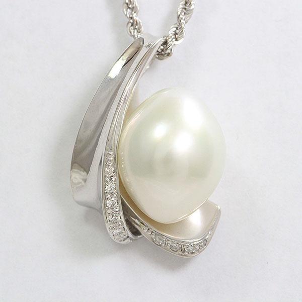 真珠 パール/ダイヤモンド 計0.12ct ネックレス 18金ホワイトゴールド(K18WG)  【中古】 ジュエリー 【新品仕上げ済み】 netshop【2020421】