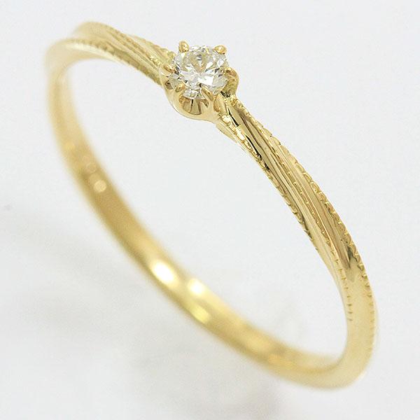 ダイヤモンド 0.05ct リング 12号 18金イエローゴールド(K18YG)  【中古】ジュエリー 【新品仕上げ済み】 netshop【202051】