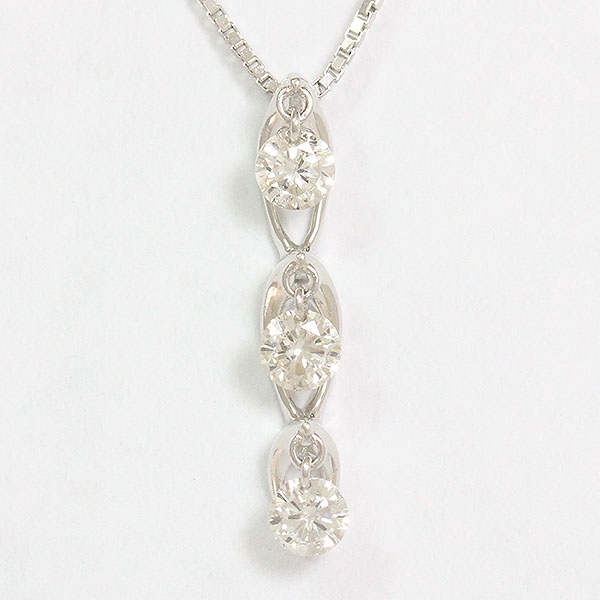 スリーストーン ダイヤモンド 計0.30ct ネックレス 18金ホワイトゴールド(K18WG)  【中古】 ジュエリー 【新品仕上げ済み】 netshop