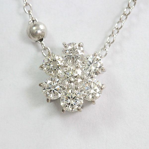 ダイヤモンド 計0.50ct ネックレス 18金ホワイトゴールド(K18WG)  【中古】 ジュエリー 【新品仕上げ済み】 netshop