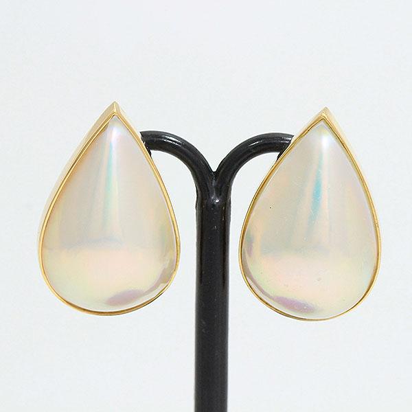 真珠 驚きの価格が実現 マベパール イヤリング 18金イエローゴールド K18YG 超人気 専門店 新品仕上げ済み ジュエリー netshop 中古
