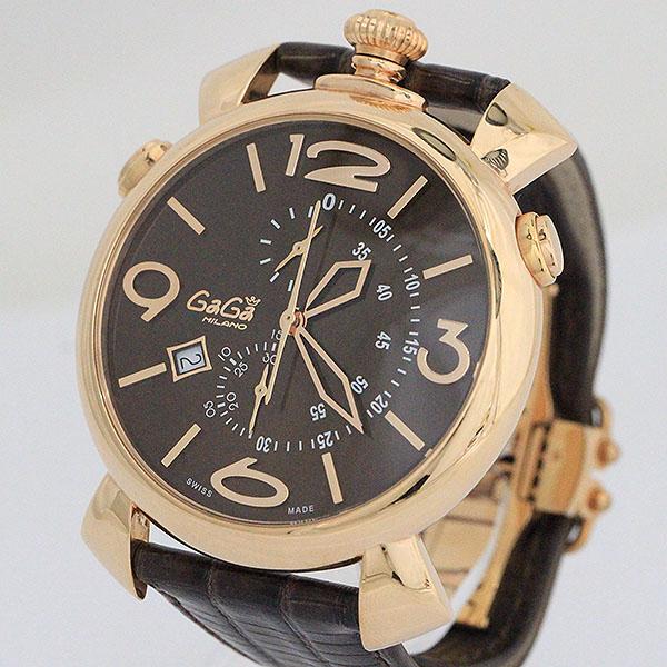 GaGa MILANO ガガミラノ マヌアーレ シンクロノ46mm 5098 ステンレススチール 正規認証品 新規格 SS ブラウン×ピンクゴールド ×レザー 超人気 クォーツ 腕時計 中古 netshop ボーイズ