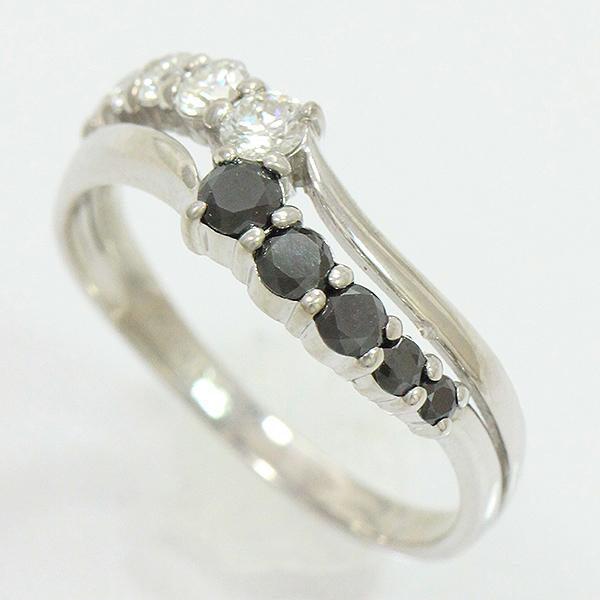 ダイヤモンド ブラックダイヤモンド 計0.50ct リング 11号 18金ホワイトゴールド K18WG 安心の実績 高価 買取 強化中 中古 新品仕上げ済み netshop ジュエリー 人気商品