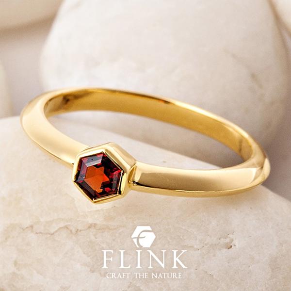 K22リング【22金 指輪】【ガーネット】【天然石】ピンクゴールドorイエローゴールド【2タイプ】FLINK フリンク【送料無料】デート ギフト プレゼント 誕生日