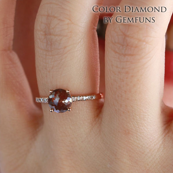 カラーダイヤモンド 14金リング 指輪 ローズゴールド 天然 カラー ダイヤモンド【スモークローズ】Color Diamond ジェムファンス【送料無料】レディース ゴールドジュエリー【女性】【ギフト】