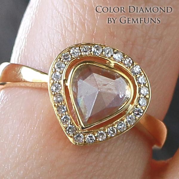 ダイヤモンド K14YGリング【14金 指輪】【イエローゴールド】天然 ダイヤモンド【ハート型】Color Diamond ジェムファンス【送料無料】レディース ゴールドジュエリー【女性】【ギフト】