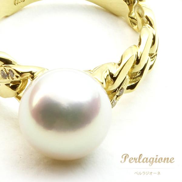 Perlagione ペルラジオーネ【送料無料】アコヤパール 調色【パール 真珠】ダイヤモンド【ホワイト】K18YG【18金 イエローゴールド】【リング 指輪】