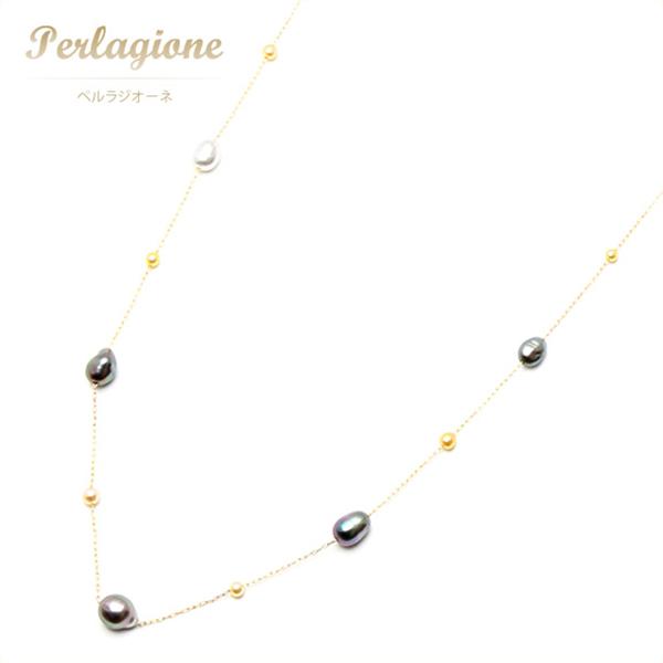 Perlagione ペルラジオーネ【送料無料】アコヤベビー ゴールド【パール 真珠】K14YG【イエローゴールド】パールネックレス