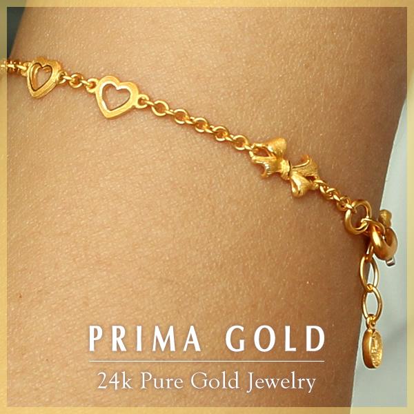 Solid Gold Bracelet Prima Women S Open Heart Ribbon Primagold 24 K K24 Jewelry Accessories Brand