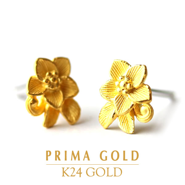 c705054262a33 ●Pure gold pierced earrings ● K24 24-karat gold pure gold yellow gold ●  prima ballerina gold ● earrings are modifiable