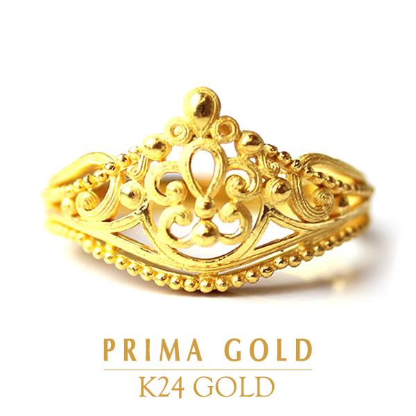 純金リング【クラウン】【ジュエリー】K24 24金 純金 イエローゴールド【女性用 レディース】PRIMAGOLD プリマゴールド【送料無料】ギフト・贈り物にもおすすめ