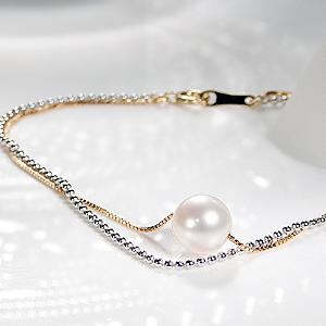 K18YG/WG パール 2連 ブレスレットファッション ジュエリー アクセサリー レディース ブレスレット 腕輪 18金 ゴールド パール 真珠 送料無料 品質保証書 二連 重ねづけ レイアード プレゼント 贈り物 ギフト 誕生日