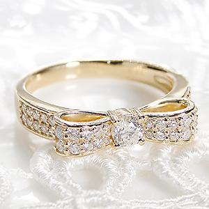 ジュエリー アクセサリー レディース 指輪 リング イエローゴールド ダイヤモンド りぼん リボン ダイア 0.5ct K18 送料無料 品質保証書 刻印無料 プレゼント ギフト